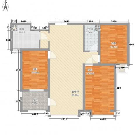 荣盛锦绣花苑3室1厅1卫1厨124.00㎡户型图
