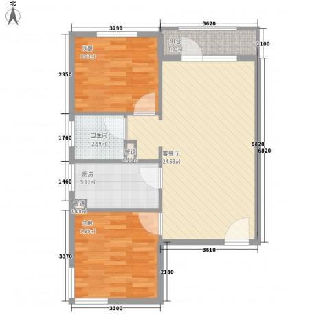 金湾新城三期2室1厅1卫1厨61.21㎡户型图