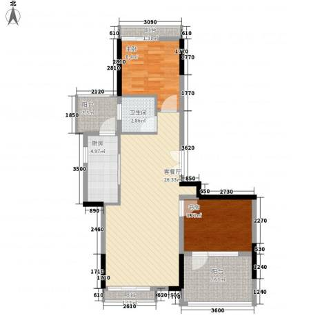 恒大雅苑2室1厅1卫1厨93.00㎡户型图