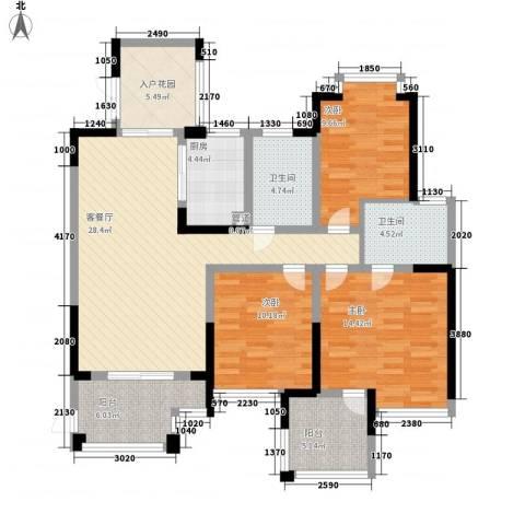 世纪城龙吉苑3室1厅2卫1厨136.00㎡户型图