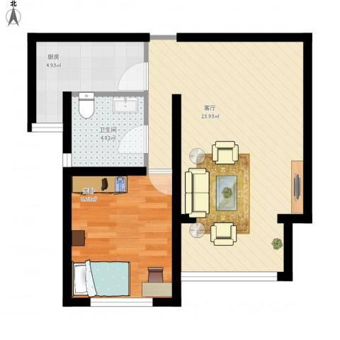 东方康德家园1室1厅1卫1厨61.00㎡户型图