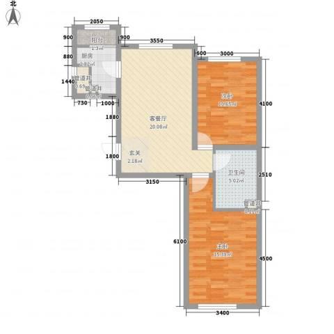 咖啡小镇2室1厅1卫1厨75.00㎡户型图