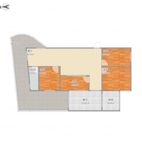 富怡三区4室2厅1卫1厨189.00㎡户型图