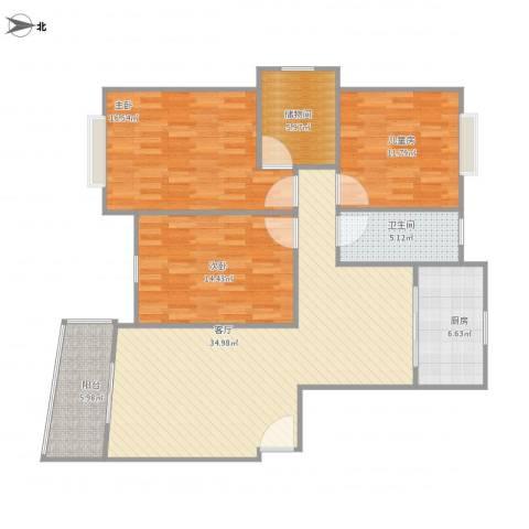 昆山城市之光3室1厅1卫1厨136.00㎡户型图