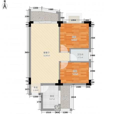 新世纪华庭2室1厅1卫1厨76.00㎡户型图