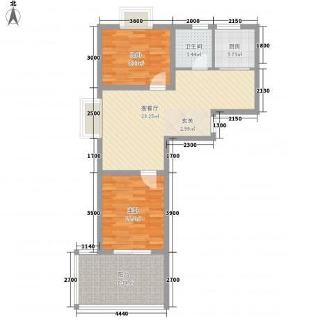 香阁里拉花园2室1厅1卫1厨76.00㎡户型图