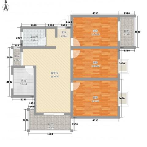 香阁里拉花园3室1厅1卫1厨122.00㎡户型图