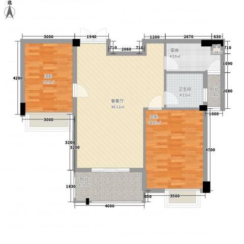 特房五缘尊府2室1厅1卫1厨72.46㎡户型图