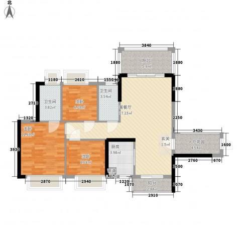 东港华府3室1厅2卫1厨99.00㎡户型图