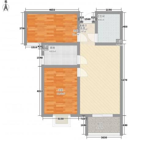 高新香江岸2室1厅1卫1厨87.00㎡户型图