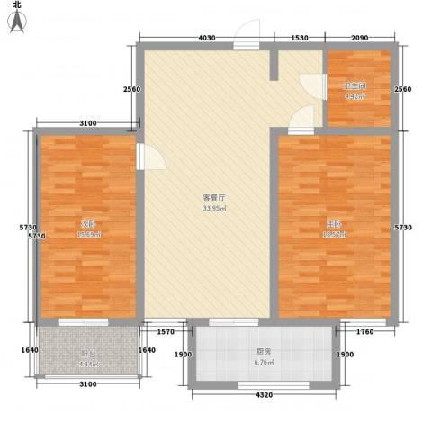 东泰花园又一居2室1厅1卫1厨118.00㎡户型图