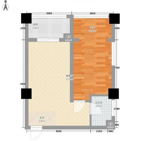 新华名座1室1厅1卫1厨68.00㎡户型图