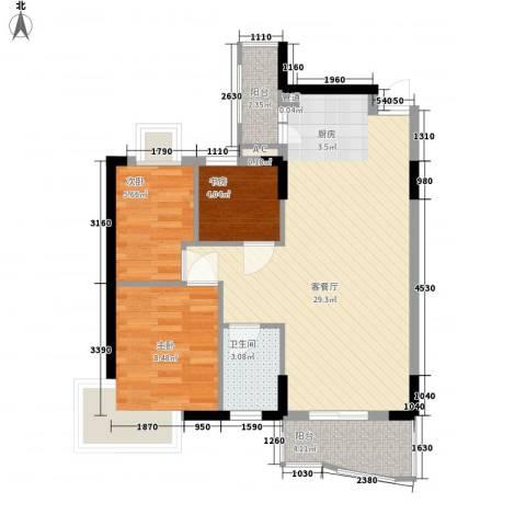 东泰花园又一居3室1厅1卫0厨82.00㎡户型图
