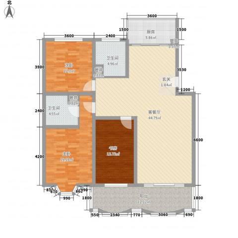 怡江春色3室1厅2卫1厨131.00㎡户型图