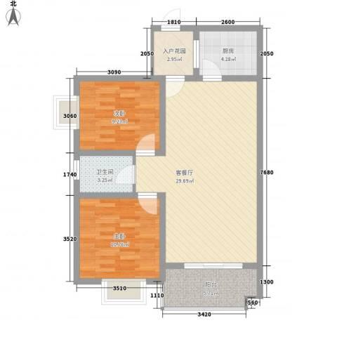 大金门花园2室1厅1卫1厨75.61㎡户型图