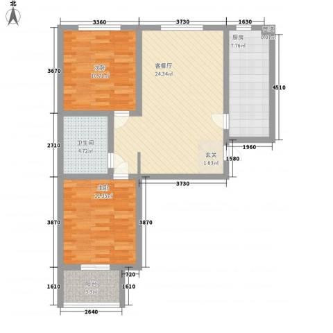 高新香江岸2室1厅1卫1厨62.19㎡户型图