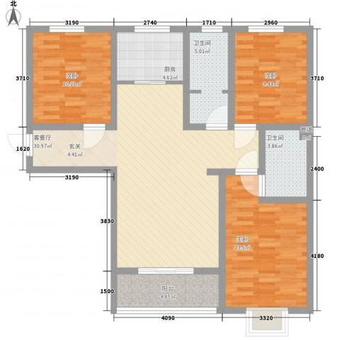 高新香江岸3室1厅2卫1厨82.46㎡户型图