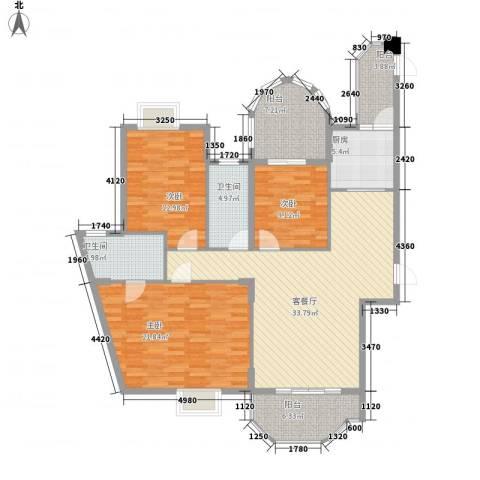 金銮湾3室1厅2卫1厨155.00㎡户型图