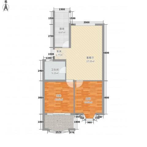 怡江春色2室1厅1卫1厨85.00㎡户型图
