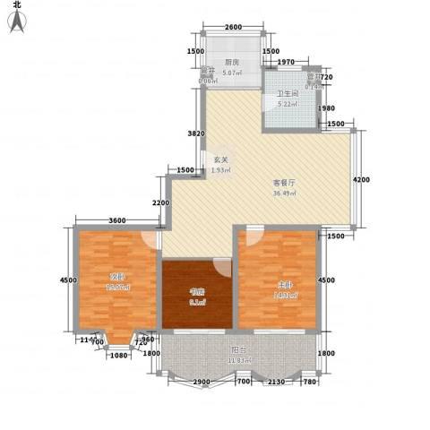 怡江春色3室1厅1卫1厨97.27㎡户型图