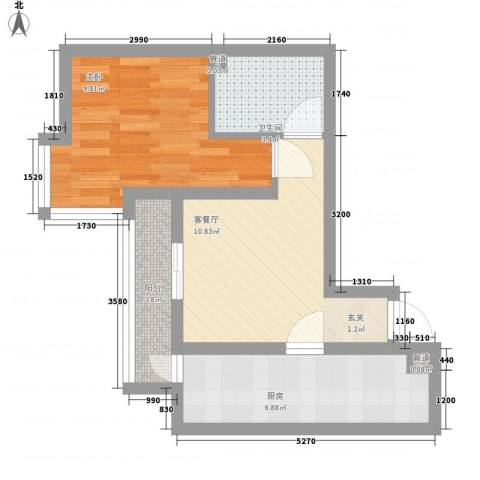 华泰新都1室1厅1卫1厨51.00㎡户型图