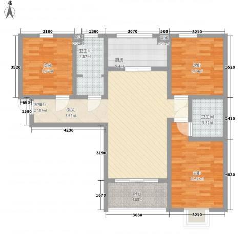 高新香江岸3室1厅2卫1厨117.00㎡户型图