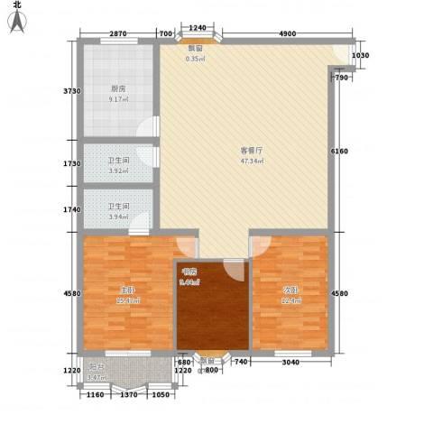 漪汾华苑(华宇)3室1厅2卫1厨147.00㎡户型图
