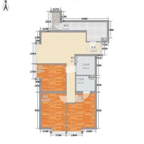 华泰新都3室1厅2卫1厨112.00㎡户型图