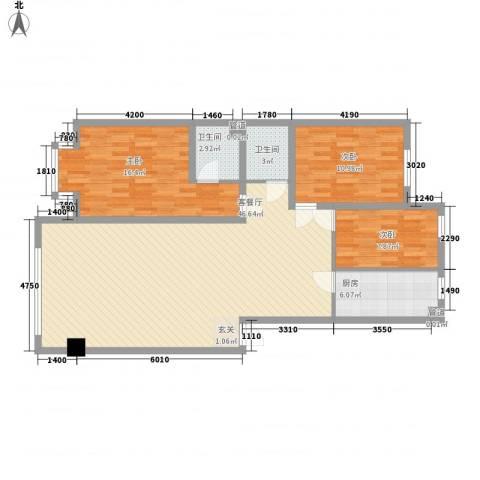 卓然京都3室1厅2卫1厨119.00㎡户型图