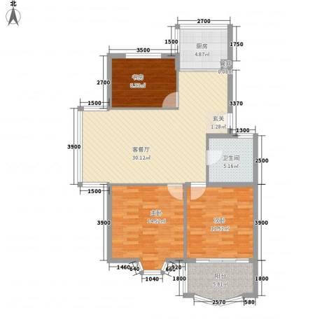 怡江春色3室1厅1卫1厨81.40㎡户型图