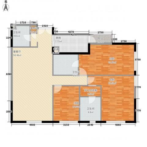 富力爱丁堡国际公寓3室1厅3卫1厨187.00㎡户型图