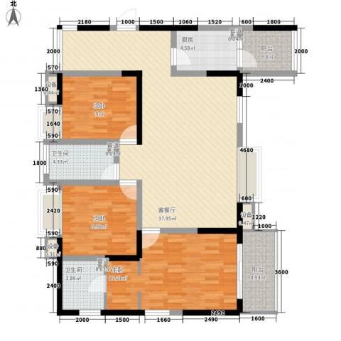 高山流水幸福快车3室1厅2卫1厨137.00㎡户型图