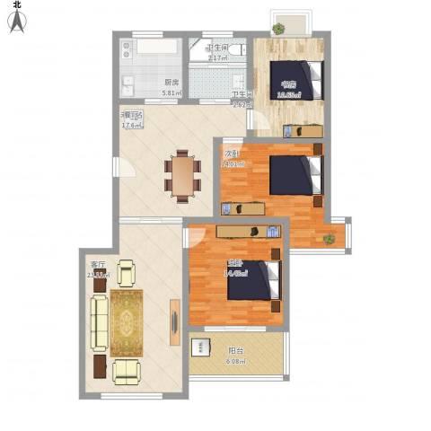 顺达碧海名居3室1厅2卫1厨111.35㎡户型图
