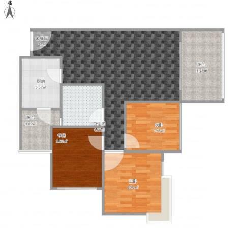 雄飞新园紫郡3室1厅1卫1厨94.00㎡户型图