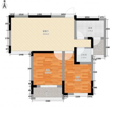 御源林城2室1厅1卫1厨89.00㎡户型图