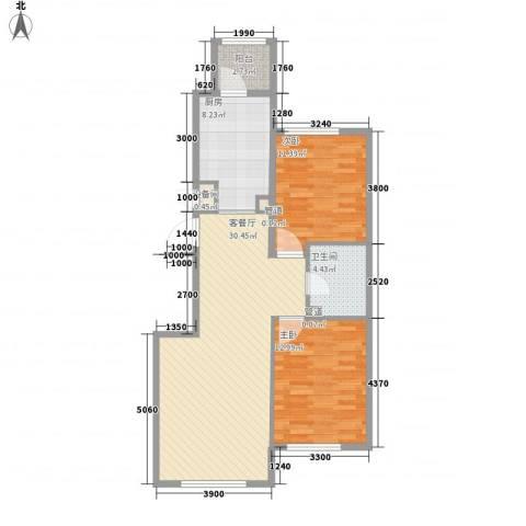 伟峰东樾2室1厅1卫1厨70.86㎡户型图