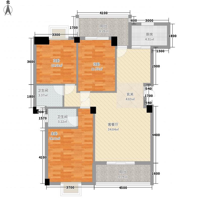 锦绣豪庭121.13㎡A1户型3室2厅2卫1厨
