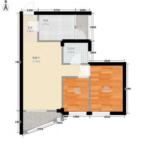 金湖花园2室1厅1卫1厨60.00㎡户型图
