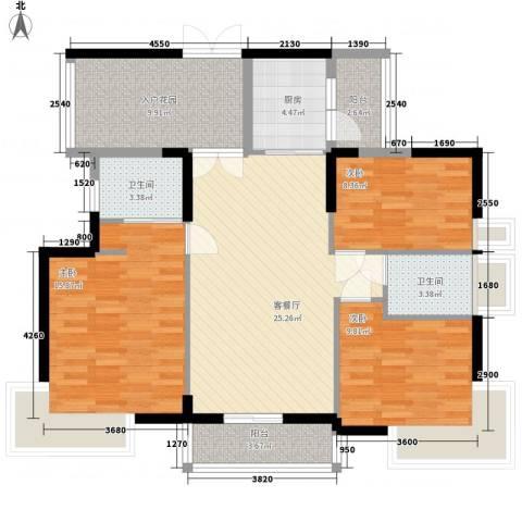 新时代家园3室1厅2卫1厨103.00㎡户型图