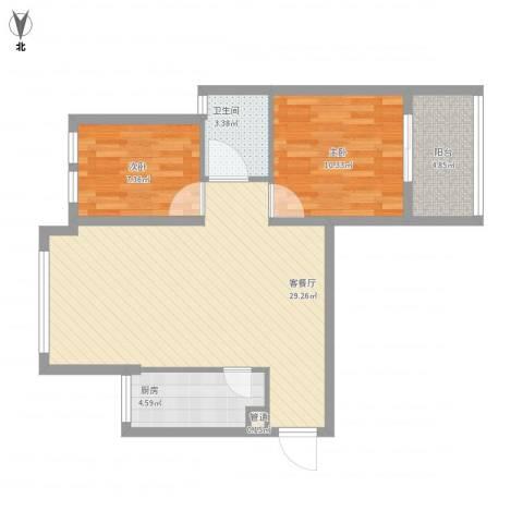 银溪春墅2室1厅1卫1厨85.00㎡户型图