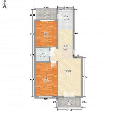 龙埠城市花园2室1厅1卫0厨94.00㎡户型图