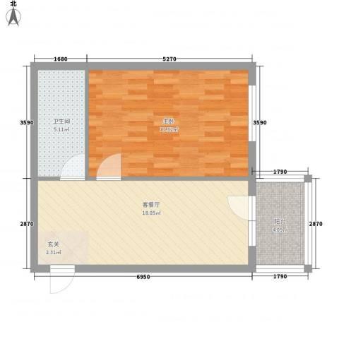 龙埠城市花园1室1厅1卫0厨62.00㎡户型图