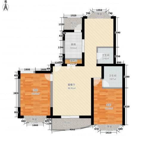 江信国际花园2室1厅2卫1厨101.00㎡户型图