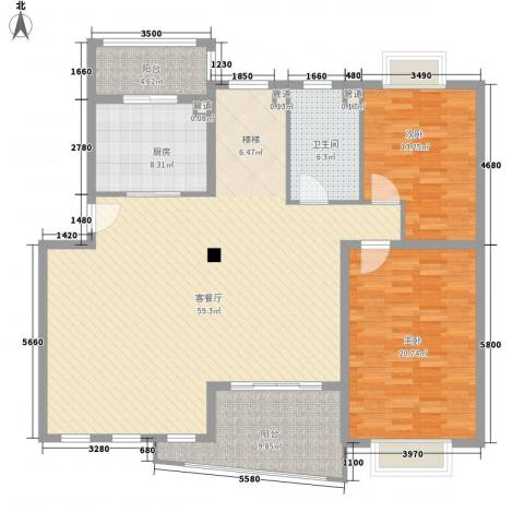 红谷春天2室1厅1卫1厨170.00㎡户型图
