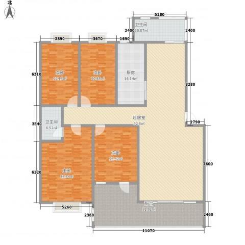 中科大学村独尊4室0厅2卫1厨356.00㎡户型图