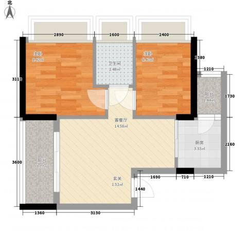 新时代家园2室1厅1卫1厨56.00㎡户型图
