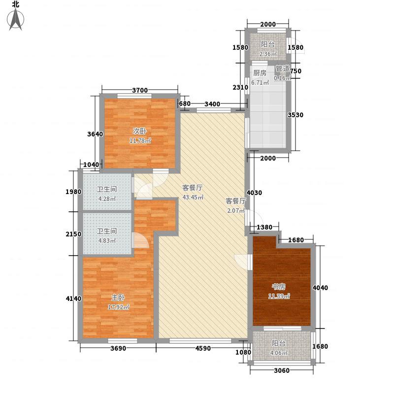 宝湖天下148.70㎡E标准层户型3室2厅2卫1厨