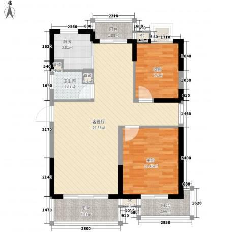 三亚花冠渔歌海韵2室1厅1卫1厨95.00㎡户型图