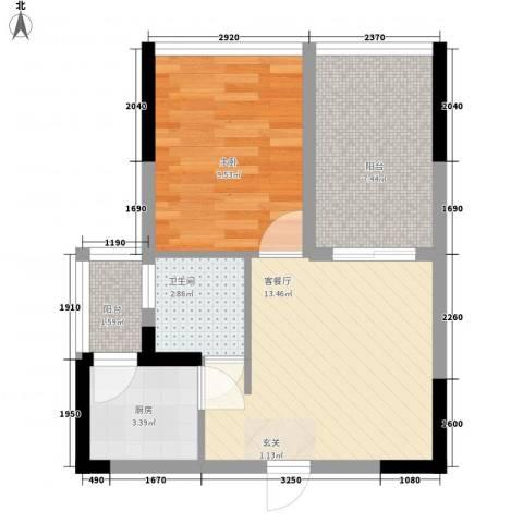 新时代家园1室1厅1卫1厨49.00㎡户型图