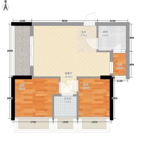 新时代家园2室1厅1卫1厨57.00㎡户型图